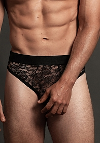 Lace Brief  - Black