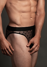 Star Open Back Brief - Black