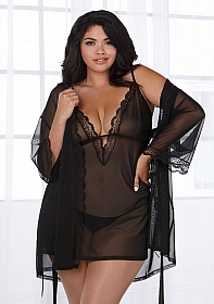Stretch Mesh Chemise & Robe Set - Black