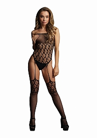 Strapless, Crotchless Teddy With Stockings