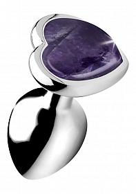 Gemstones Amethyst Heart Small Anal Plug