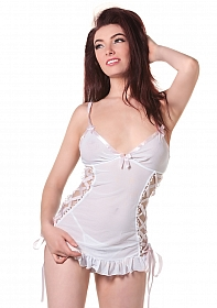 White Babydoll with Braided Ribbon & String