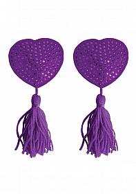 Nipple Tassels - Heart - Purple