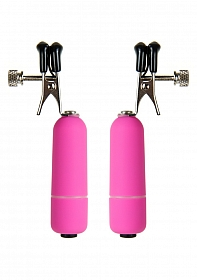 Vibrating Nipple Clamps - Pink