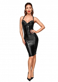 Knee-length wetlook dress - Black