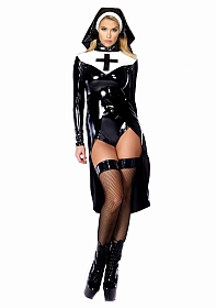 Saintlike Seductress Sexy Nun Costume - Black