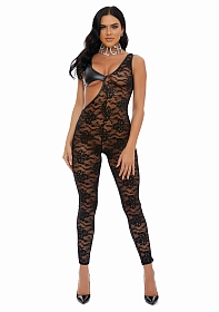 Seeing Double Lace Faux Leather Jumpsuit - Black