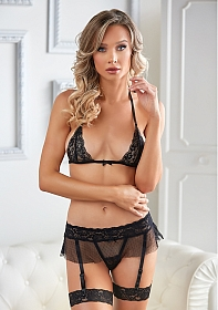 Lace and Mesh Bra and Garter G-string - Black