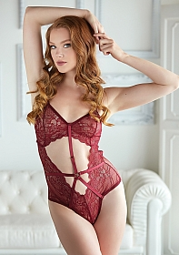 Lace and Mesh Teddy - Burgundy
