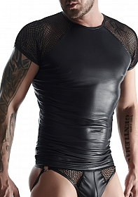 Wetlook & mesh Men's raglan sleeve t-shirt - Black